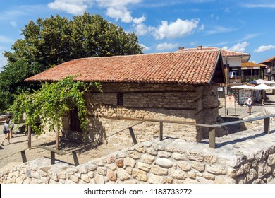 NESSEBAR, BULGARIA - AUGUST 12, 2018: Exterior of Ancient Church of of the Holy Savior (St. Spas) in the town of Nessebar, Burgas Region, Bulgaria