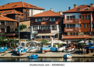 NESSEBAR, BULGARIA, AUGUST 31, 2015: View on street Angelo Roncalli in old town of Nessebar from the sea. Ancient city of Nessebar is a UNESCO world heritage site.
