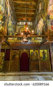 NESSEBAR, BULGARIA, JULY 17, 2015: detail of the interior of the church of saint stephan of the new bisphoric in bulgarian unesco heritage city nessebar.