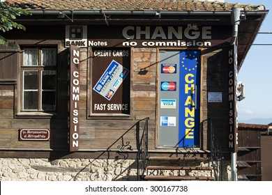 Nessebar, Bulgaria - July 24, 2015: A currency change office in the old town of Nessebar, Bulgaria.