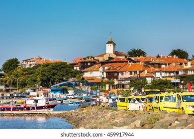Nessebar, Bulgaria - July 25, 2016: Port, boats and taxi row in old town in Nesebar in Bulgaria
