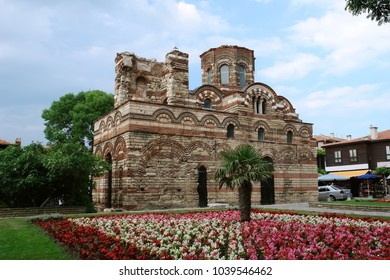 Nessebar, Bulgaria - June 12, 2011: Church of Christ Pantocrator in the square near the entrance to Nessebar old town, Black Sea coast, Burgas, Bulgaria.