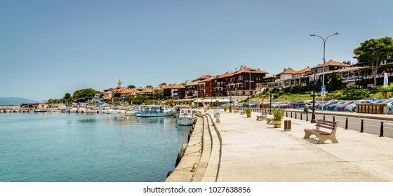 Nessebar, Bulgaria, June 27, 2017: Promenade along the Black Sea coast in resort town of  Nessebar, Bulgaria