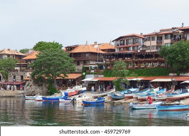 NESSEBAR, BULGARIA, JUNY 18, 2016: Walk through the streets of the ancient town of Nessebar. cozy port with small fishing boats