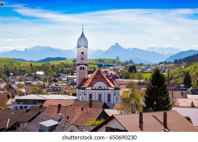 nesselwang, allgau church in bavaria alpine in beautiful alpine scenery