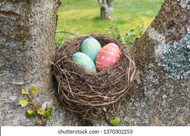 Nest with chocolate eggs wrapped in colored paper for Easter
