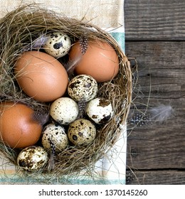 nest eggs easter, wooden rustic background - Shutterstock ID 1370145260