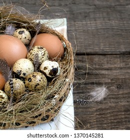 nest eggs easter, wooden rustic background - Shutterstock ID 1370145281