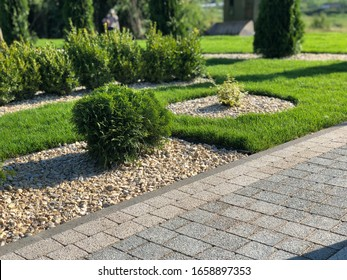 Nested pavers of various colors, around the grass is green, chic garden