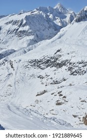 The Nesthorn above the Aletsch Glacier, in the Bernese Alps in Switzerland. A Unesco protected region