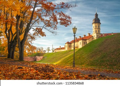 Nesvizh castle in autumn evening, Belarus Minsk region
