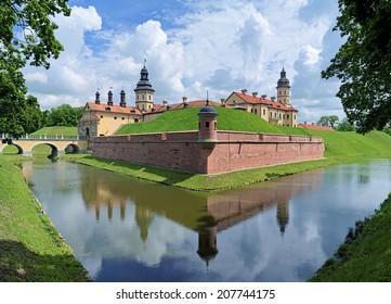 Nesvizh Castle, a residential castle of the Radziwill family in Nesvizh, Belarus