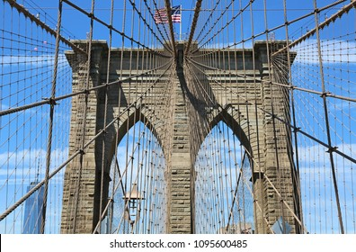 In the net of cable - Brooklyn Bridge, New York City, USA