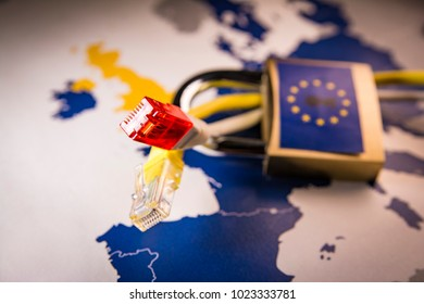 Net cable with Padlock over EU map on the background, symbolizing the EU General Data Protection Regulation or GDPR. Designed to harmonize data privacy laws across Europe.