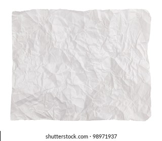 Net crumpled piece of paper on a white background