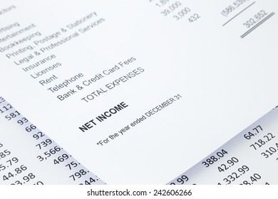 Net income word in business income statement with other detail lists in reports, finance and accounting concept, black and white tone image