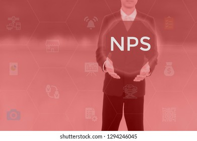 net promoter score (NPS) concept presented by businessman touching on virtual screen