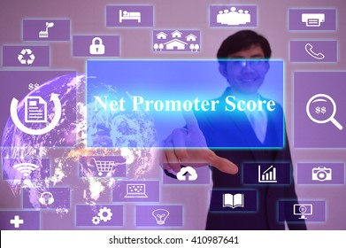 Net Promoter Score(NPS) concept  presented by  businessman touching on  virtual  screen ,image element furnished by NASA