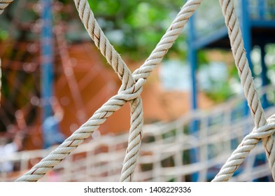 net of rope safety object in playground