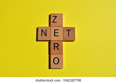 Net Zero, word in crossword form isolated on yellow background