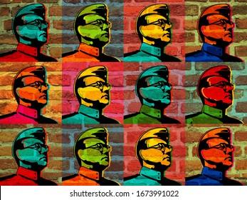 Netaji subhas chandra bose - wall graphics in west bengal, india
