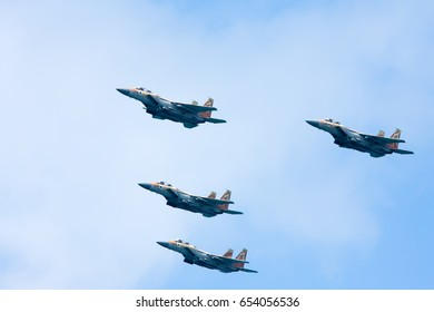 NETANYA, ISRAEL - MAY02, 2017: Armed fighter jets  McDonnell Douglas F-15 Eagle. Festive parade of Israel army of defense during Independence Day celebration.