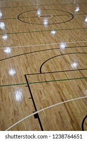 Netball and Basketball Court. Indoors on wooden floorboards. Showing Centre Third and Goal Third including the Free Throw Lane.