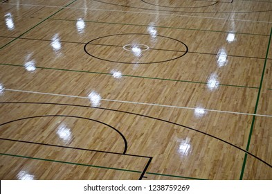 Netball Court and Basketball Court Indoors on wooden floorboards showing Centre and Goal Thirds.