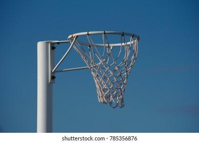 Netball hoop with a blue sky