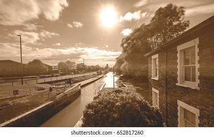 Netham Lock Bristol England Long Exposure Photography Motion Blur Sepia Tone