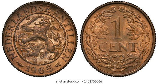 Netherland Antilles coin 1 one cent 1965, lion with sword and bundle of arrows within central circle, denomination within wreath,