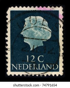 NETHERLAND-CIRCA 1959:A stamp printed in NETHERLAND shows image of the Juliana (Juliana Louise Emma Marie Wilhelmina) was the Queen regnant of the Kingdom of the Netherlands, circa 1959.