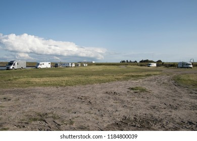 Netherland,friesland,Afsluitdijk,july 2018: Camping van parking on a terrain for day recreatiion at The frysk side of the Afsluitdijk