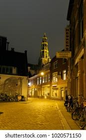 Netherlands 03 Februari 2018, City centre of Groningen Netherlands at night
