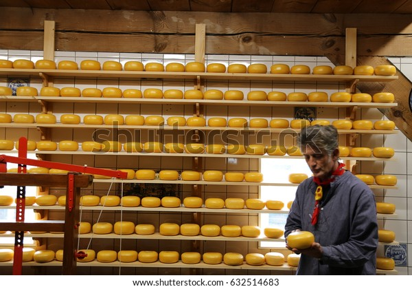 The NETHERLANDS - 14 APR: Cheese Shop in Zaandijk Zaanse Schans in the Netherlands on 14 April 2017