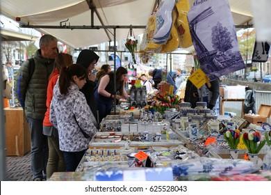 The NETHERLANDS - 14 APR: Visiting City Center in Alkmaar in the Netherlands on 14 April 2017
