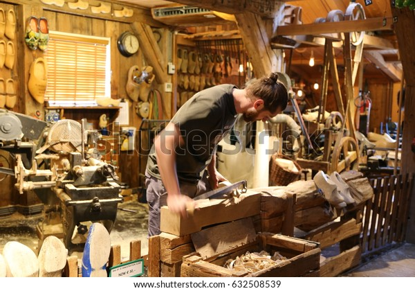 The NETHERLANDS - 14 APR: Wooden Shoe Workshop Kooijman in Zaandijk Zaanse Schans in the Netherlands on 14 April 2017