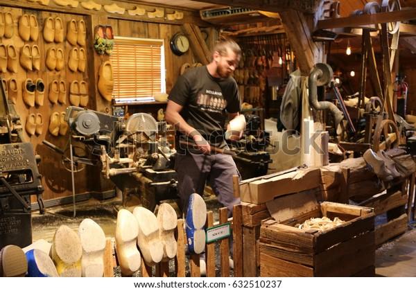The NETHERLANDS - 14 APR: Wooden Shoe Workshop Kooijman in Zaandijk Zaanse Schans in the Netherlands on 14 April 2017