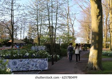 The NETHERLANDS - 15 APR: Visiting Keukenhof garden in the Netherlands on 15 April 2017
