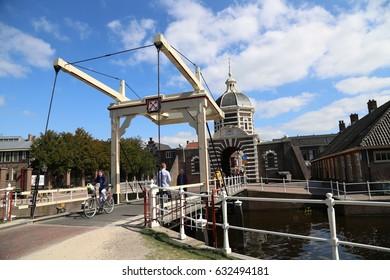 The NETHERLANDS - 8 APR: Morspoort City Gate in Leiden, the Netherlands on 8 April 2017
