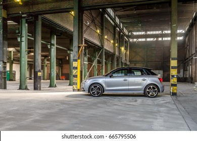 Netherlands 8 May, 2017, Audi A1 sportback S-linestanding in a old factory hall