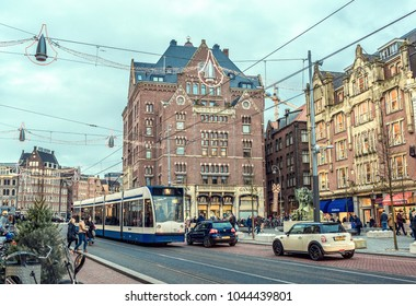 NETHERLANDS, AMSTERDAM - 06 January 2018: Old city of Amsterdam