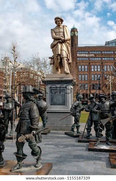 Netherlands Amsterdam 1022018 Rembrandt Statue On Stock Photo (Edit