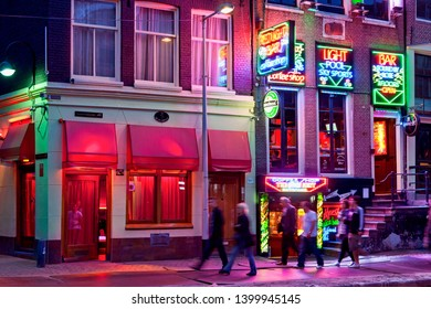 Netherlands, Amsterdam, April, 4, 2019 - the red light district by night