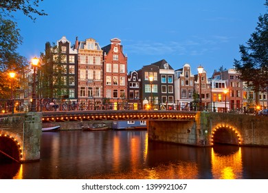 Netherlands, Amsterdam, Canal at Dusk
