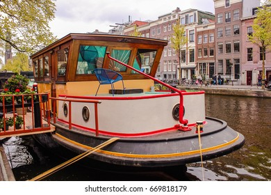 Netherlands Amsterdam Canal River HouseBoat