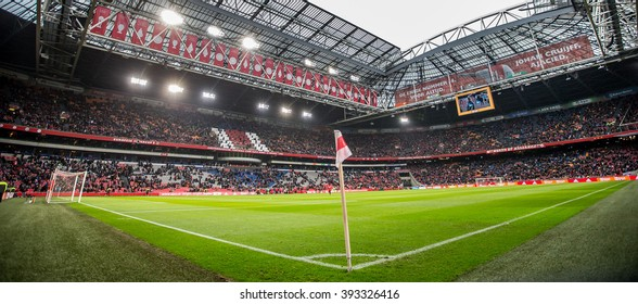 NETHERLANDS, AMSTERDAM - February 21th 2016: Ajax trainer coach Frank de Boer the ArenA during Dutch Eredivisie match from Ajax , Stadium overview panorama, Amsterdam ArenA