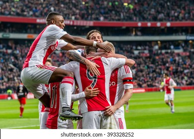 NETHERLANDS, AMSTERDAM - February 21th 2016: the ArenA during Dutch Eredivisie match from Ajax , Ajax players Celebrate , Riechedly Bazoer, Arek Milik, Davy Klaassen, Mitchell Dijks, Amin Younes