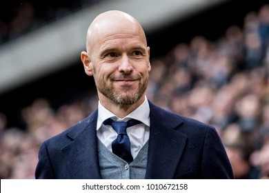 NETHERLANDS, Amsterdam - January 21th 2018: Erik ten Hag the new trainer / head coach / manager of AFC Ajax coaches during he's first match