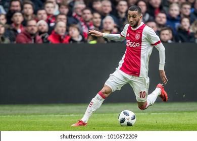 NETHERLANDS, Amsterdam - January 21th 2018: Ajax player Hakim Ziyech during the Ajax - Feyenoord match